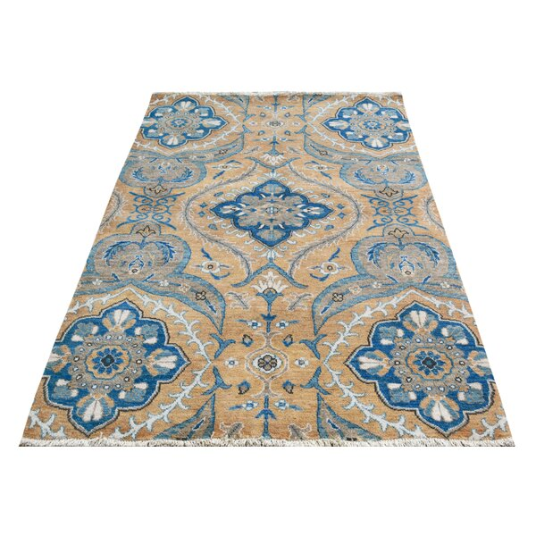 One-of-a-Kind Palmquist Hand-Knotted Wool Gold/Blue Area Rug by Bloomsbury Market