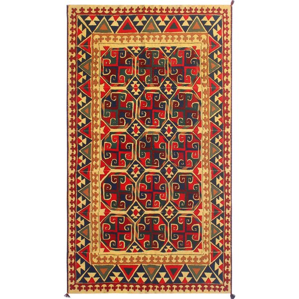 One-Of-A-Kind Treva Hand-Knotted Wool Red/Cream Area Rug by Isabelline