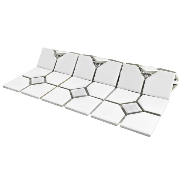 Cambridge Porcelain Mosaic Tile in Glossy White by EliteTile