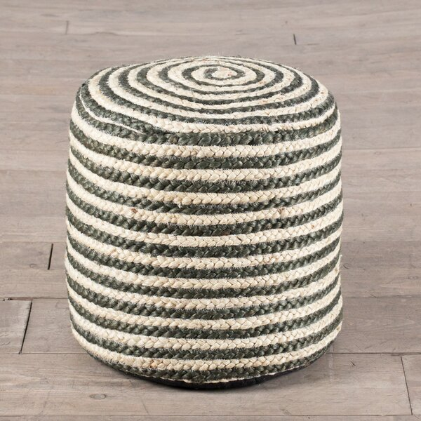 Coil Upholstered Stripe Pouf by ZallZo