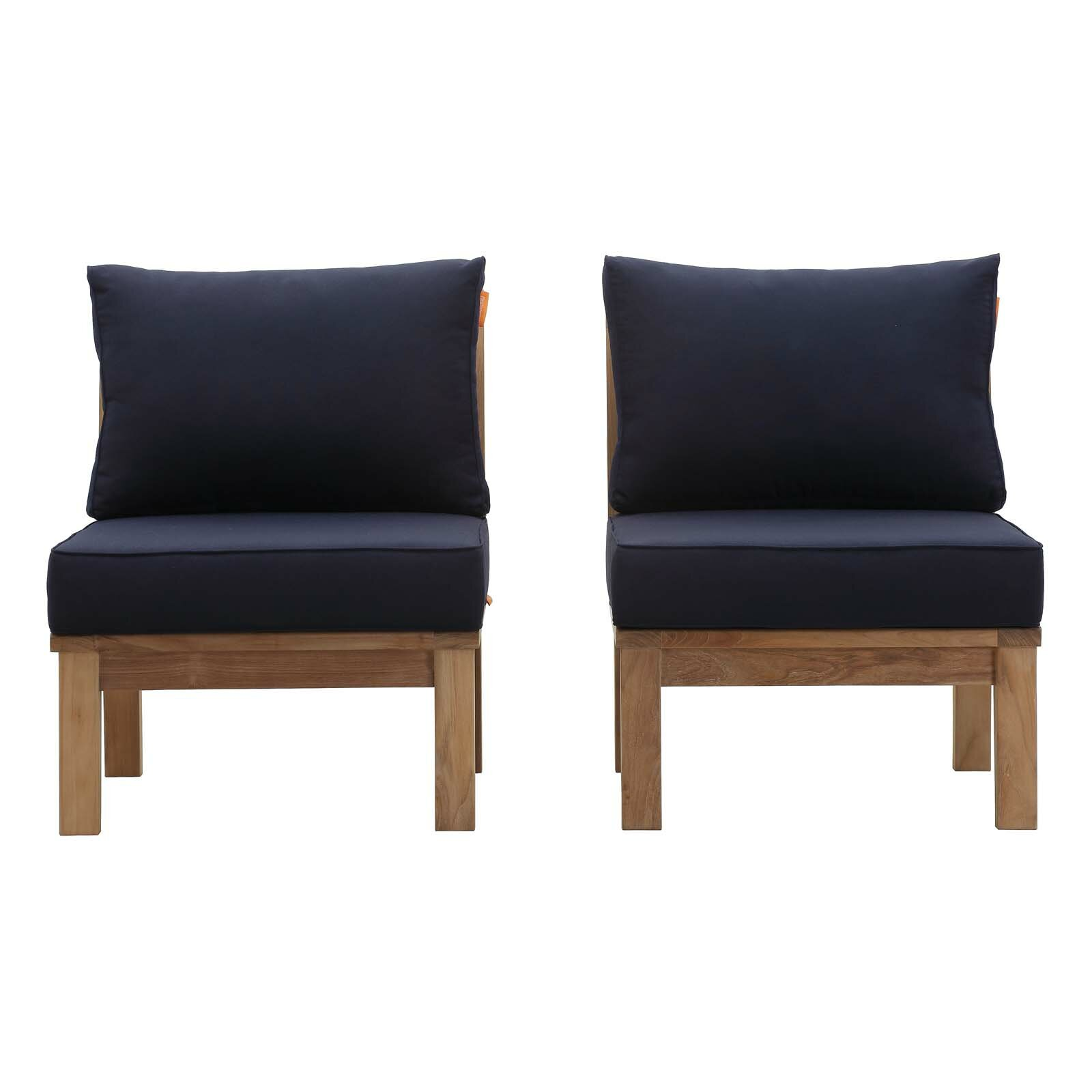 Anthony Outdoor Teak Patio Chair With Cushions Allmodern