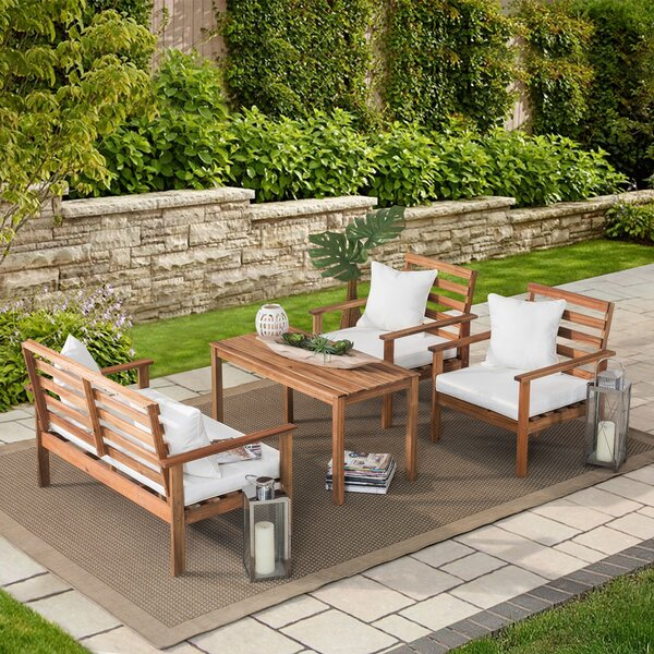 Lederer 4 Piece Sofa Seating Group with Cushions by Millwood Pines
