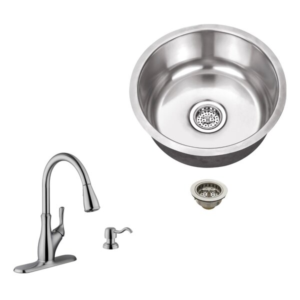17.13 L x 17.13 W Undermount Bar Sink with Gooseneck Faucet by Soleil