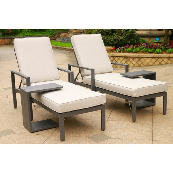 Hearne Outdoor Synthetic Adjustable Sun Lounger Set with Cushions and Table (Set of 2)