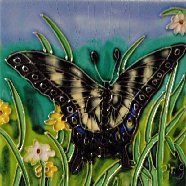 Light Yellow Butterfly with Green Tile Wall Decor by Continental Art Center