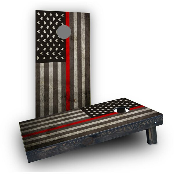 Thin Red Line Cornhole Boards (Set of 2) by Custom Cornhole Boards