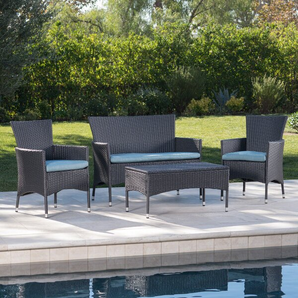 Faison 4 Piece Rattan Sofa Seating Group with Cushions by Charlton Home