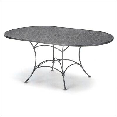 Mesh Top Set-Up Oval Wrought Iron Dining Table by Woodard