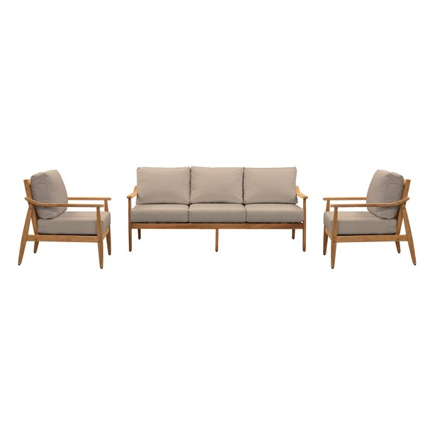 Alta  3 Piece Teak Sofa Seating Group with Sunbrella Cushions by Union Rustic