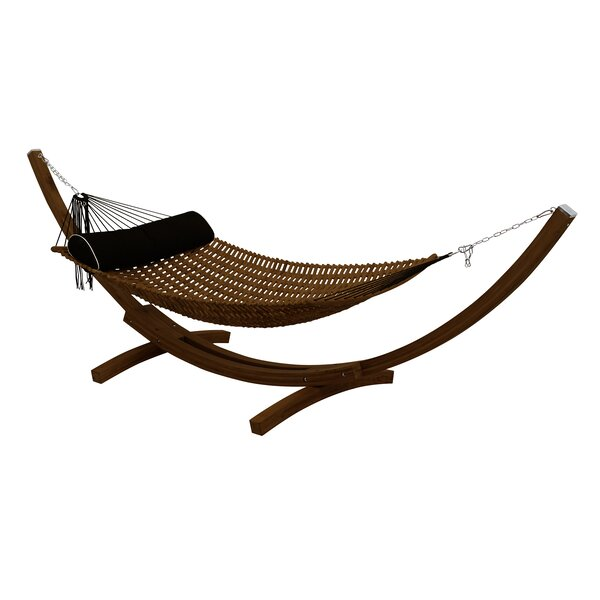 Sandy Teak Oil Double Hammock with Teak Oil Stand by Bay Isle Home