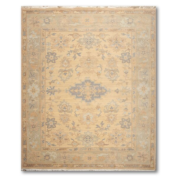 One-of-a-Kind Highbury Hand-Knotted Wool Warm beige Area Rug by Canora Grey