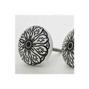 Intricate Floral Pattern Flat Ceramic Novelty Knob (Set of 2)