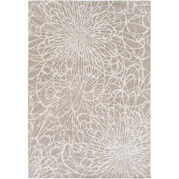 Oconnell Hand-Knotted Taupe/Ivory Area Rug by Brayden Studio