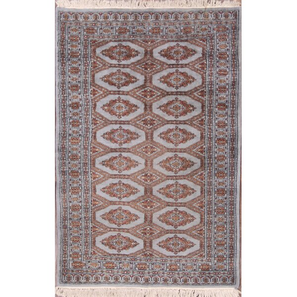 Mireya Bokhara Pakistan Traditional Oriental Hand-Knotted Wool Beige/Brown Area Rug by Bloomsbury Market