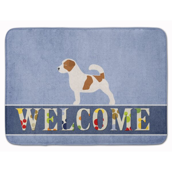 Keston Jack Russell Terrier Welcome Rectangle Microfiber Non-Slip Bath Rug