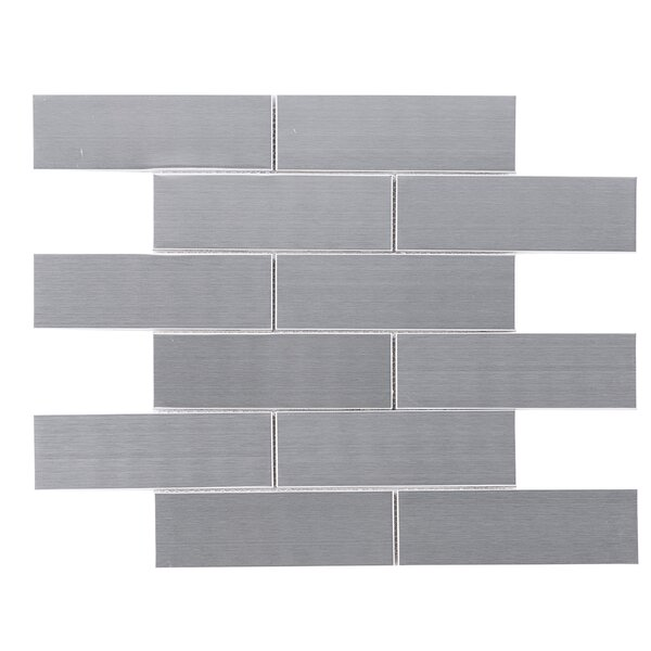 Brushed Metal Mosaic Tile in Gray by Multile