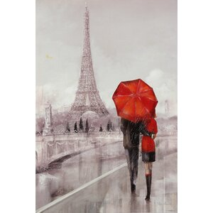 'Moden Couple in Paris' Framed Print on Painting by Winston Porter