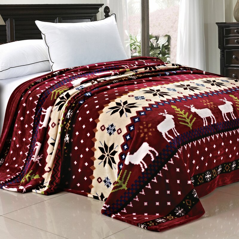 jenkins christmas snowflake deer fleece throw blanket - Christmas Fleece