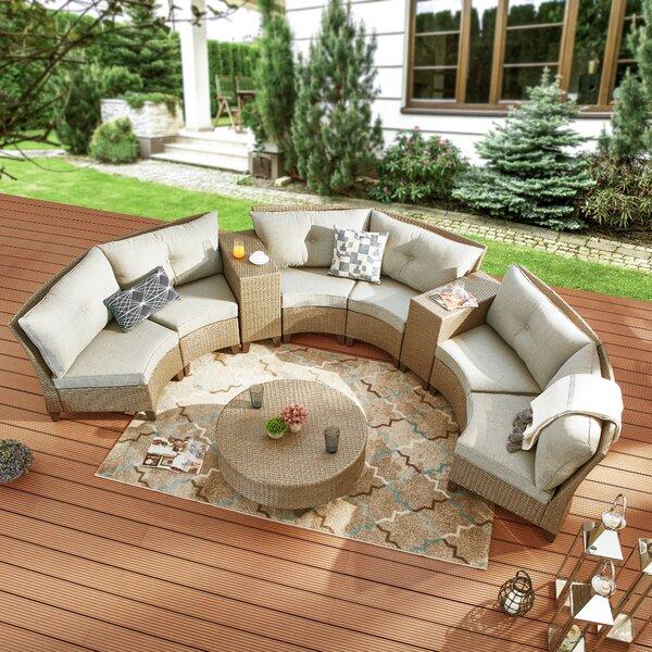 Samatha 9 Piece Rattan Sofa Seating Group with Cushions by Highland Dunes