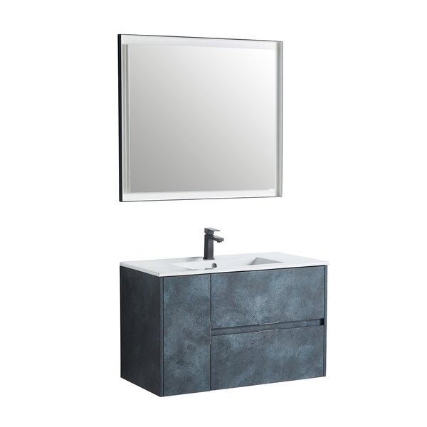 Almond 35 Wall-Mounted Single Bathroom Vanity Set with Mirror