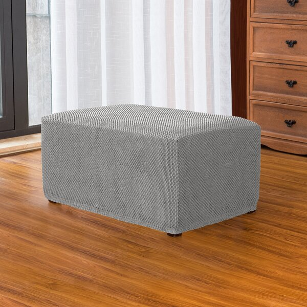 Jacquard Spandex Stretch Box Cushion Ottoman Slipcover By Ebern Designs
