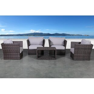 Cochran 5 Piece Rattan Sofa Seating Group with Cushions By Rosecliff Heights