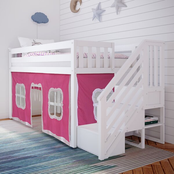 Twin-Size Low Loft With Pink Curtains White by Isabelle & Max