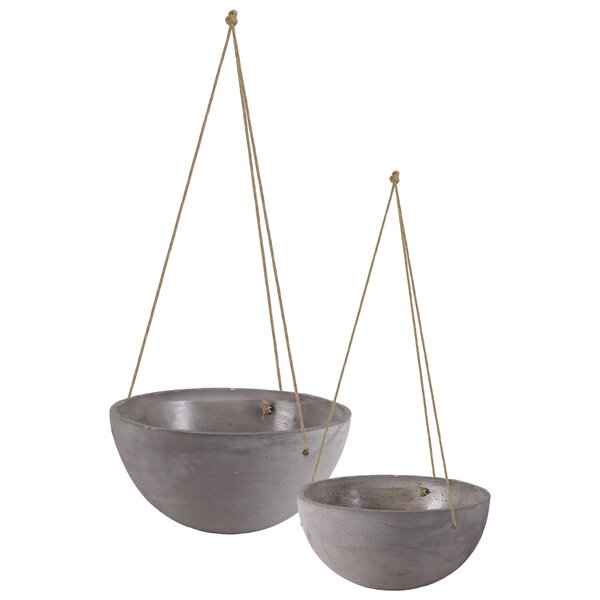 Mayville Round Rope Hanger 4 Piece Cement Pot Planter Set by Gracie Oaks