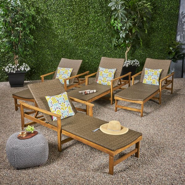 Phoenician Outdoor Rustic Reclining Chase Lounge (Set of 4) by Mistana Mistana