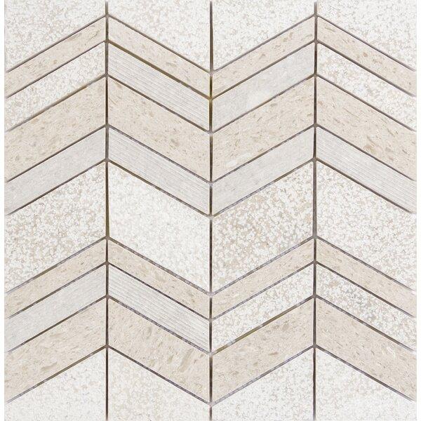Presidio Chevron Random Sized Limestone Mosaic Tile in Ivory by Emser Tile