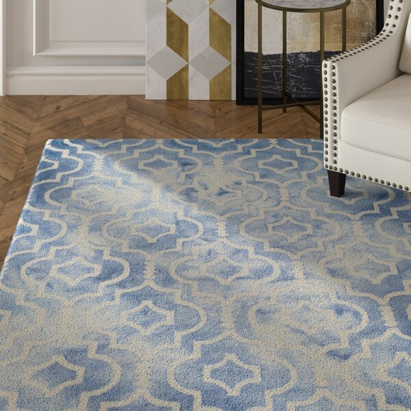 Berman Hand-Tufted Wool Blue/Ivory Area Rug by House of Hampton