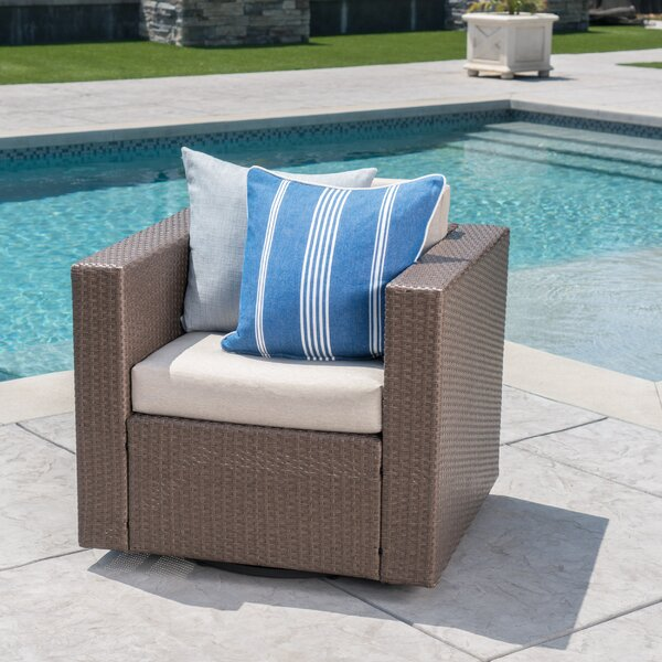 Jemaine Outdoor Swivel Club Chair with Cushions by Ivy Bronx