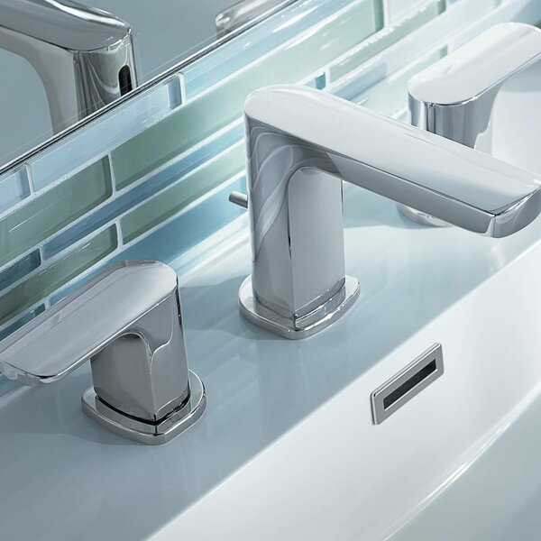 Rizon Widespread Bathroom Faucet with Drain Assembly by Moen