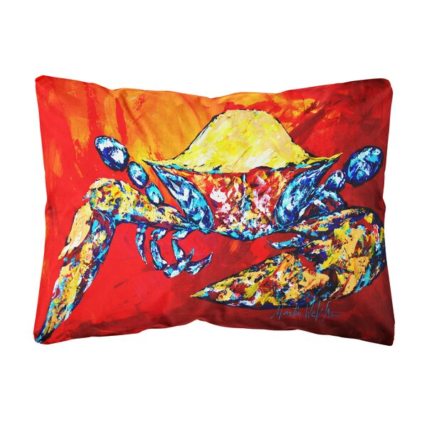 Zenobia Bring It on Crab Fabric Indoor/Outdoor Throw Pillow by Highland Dunes