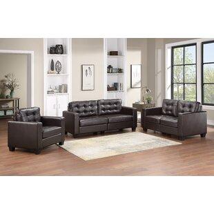Chantrea 3 Piece Faux Leather Living Room Set by Ebern Designs