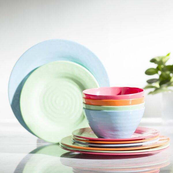 Melamine Brist 12 Piece Dinnerware Set, Service for 4 by Gibson