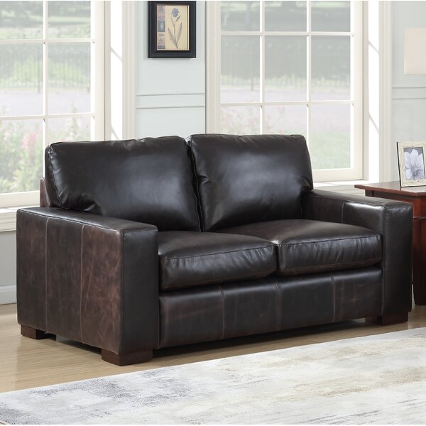 Lincolnton Leather Loveseat by Three Posts