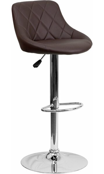 Whelan Low Back Bucket Adjustable Height Swivel Bar Stool by Orren Ellis
