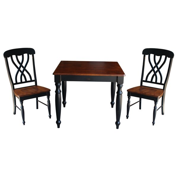 Mathilda 3 Piece Solid Wood Dining Set with Turned Legs by August Grove