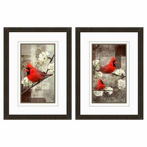Cardinal Framed 2 Piece Graphic Art Print Set (Set of 2) by PTM