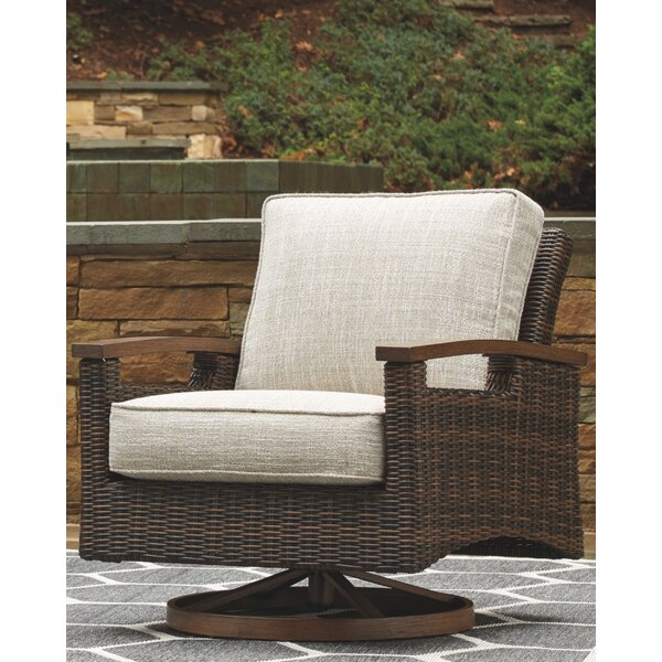 Estill Swivel Patio Chair with Cushions (Set of 2) by Highland Dunes