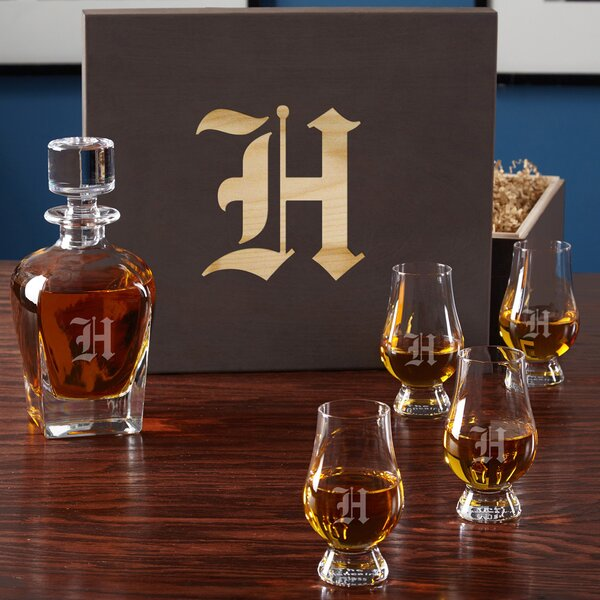 6 Piece Personalized Whiskey Decanter Set by Home Wet Bar