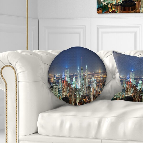 Landscape Printed Montreal at Dusk Panorama Throw Pillow by East Urban Home
