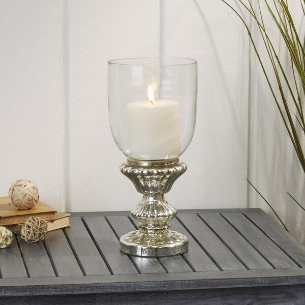 Traditional Glass Pedestal Hurricane by Lark Manor