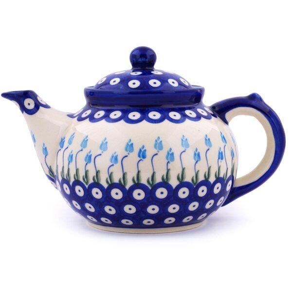 Floral Peacock Polish Pottery 1.63 qt. Stoneware Teapot by Polmedia