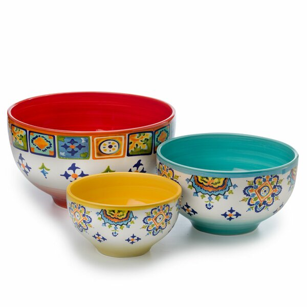 Mumbai 3 Piece Ceramic Mixing Bowl Set by Euro Ceramica