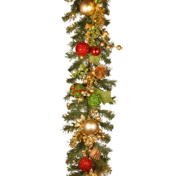 Decorated Christmas Garland with Battery Operated LED Lights by The Holiday Aisle