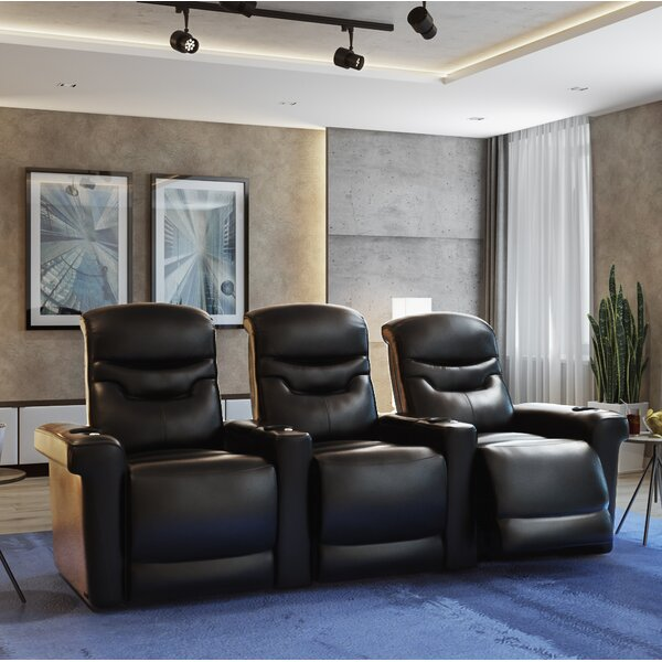 Leather Home Theater Sofa by Orren Ellis