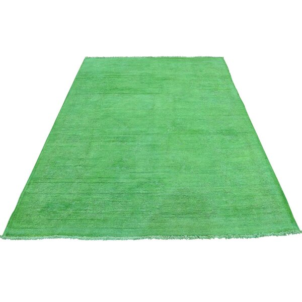 One-of-a-Kind Keeso Cast Overdyed Hand-Knotted Green Area Rug by Bungalow Rose
