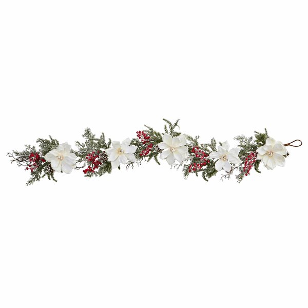 60 Frosted Magnolia and Berry Artificial Garland by The Holiday Aisle